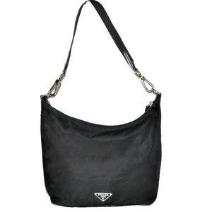 Authentic PRADA Hobo Black Nylon Leather Trim Bag